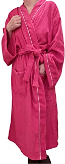 [Rink Terre] レディース バスローブ タオル地 綿 九分袖 湯上り着 着るタオル