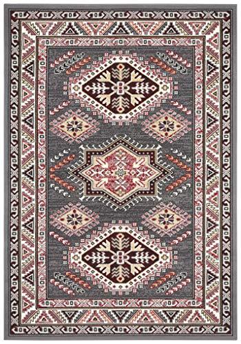 Nouristan Orientalischer Kurzflor Teppich Saricha Belutsch Grau, 160x230 cm