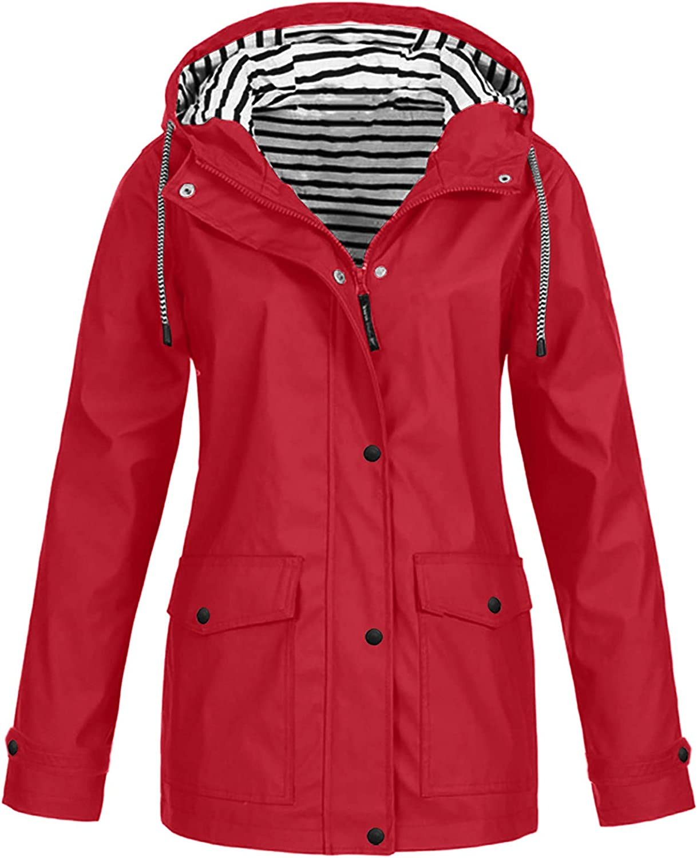 Forwelly Women Oversize Trechcoat Outdoor Waterproof Hooded Raincoat Windproof Warm Jacket Coat
