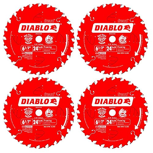 Freud D0624X Diablo 6-1/2-Inch 24-Tooth ATB Framing Saw Blade 5/8-Inch Arbor (4 Pack)