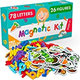 Magnetic Letters and Foam Magnets for Toddlers and Kids - Alphabet Magnets for Fridge and Dry Erase Board - Baby Magnets with Zoo and Farm Animals - Educational Toy - Ideal for Kids!