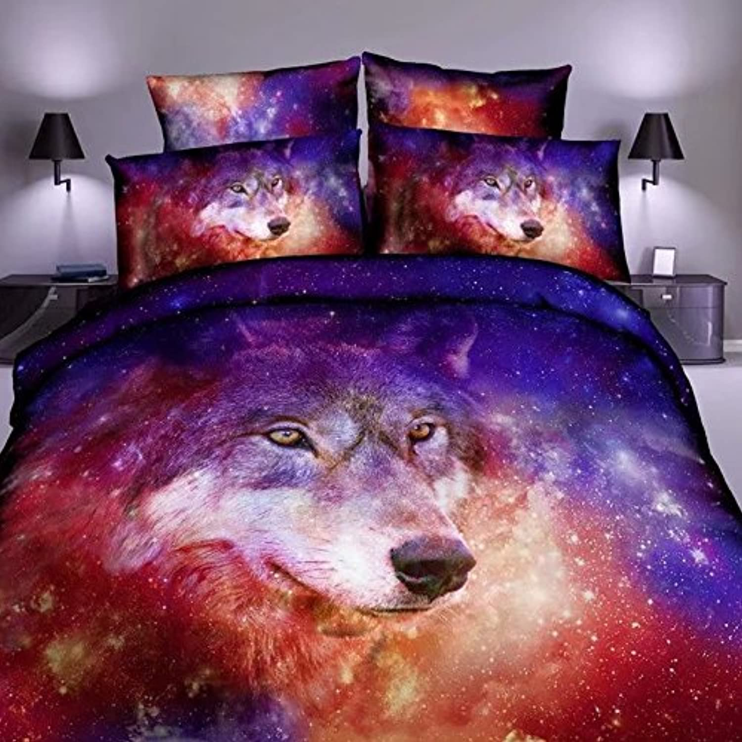 Ammybeddings Full Size Purple Galaxy Bedding 3D Galaxy and Wolf Print Shinning Outer Space Duvet Cover with 1 Flat Sheet and 2 Pillow Cases (4 PCS,No Comforter)