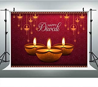 Happy Diwali Festival Backdrop for Photography, India Style Candle Burning Lights Party Background, Laxmi Puja, 9x6FT, Photo Booth Picture Props DSLU412