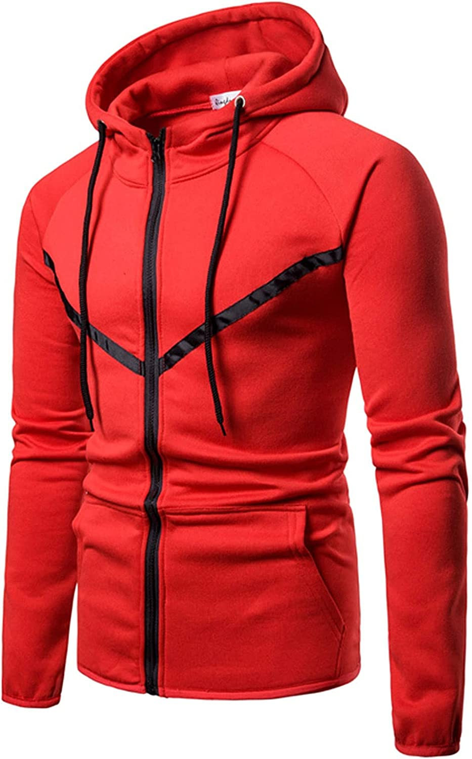 XXBR Hoodies for Mens, Zipper Color Block Hooded Sweatshirts Men's Fall Slim Fit Workout Fitness Sports Casual Jackets