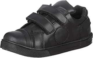 Bellino Velcro Strap Stitched Detail Faux Leather Fashion Sneakers for Boys - Black, 29