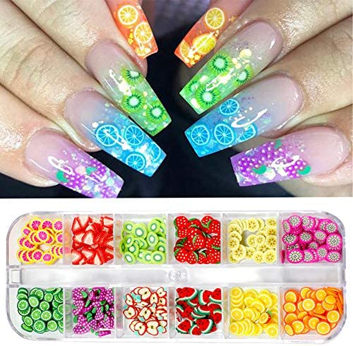 CHANGAR Fruit Nail Art Slices 3D DIY Nail Art Fimo Slime Supplies Stickers Decoration Colorful product image