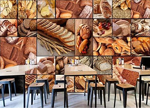 Póster Fotos Fondo Pared 3D Mural Pan Europeo Panadería Postre Tienda De Té Restaurante Cafetería Herramientas Pared Decoración Del Hogar Papel Pintado-200x140cm
