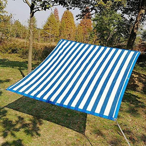 LSM Velas de Sombra Cortinas de Exterior Paño para Cubierta de Piscina Y Balcón, Toldos con Rayas Blancas Azules 85% Protección Solar Pérgola Exterior con Ojales (Size : 5×8m)