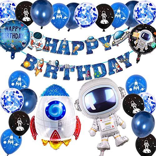 Decoraciones de cumpleaños de niño tema de globos azules cohete espacial astronauta luna globos decoración de globos de fiesta de cumpleaños feliz