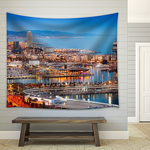 wall26 - Barcelona City and Port in Evening. Catalonia, Spain - Fabric Wall Tapestry Home Decor - 68x80 inches