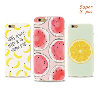 BONTOUJOUR 3 Pcs iPhone 7 case iPhone 8 Cover Case Cute Cartoon Fruit Food Animal Pattern Soft TPU Silicon Case for Girls 360 Degree Protection (Watermelon +Orange +Bananas)
