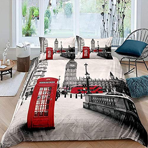 HUA JIE London Bedding Set, Big Ben Duvet Cover Red Telephone Booth Comforter for Teens Adult Women Lightweight Soft Microfiber Grey Quilt with 2 Pillow Cases