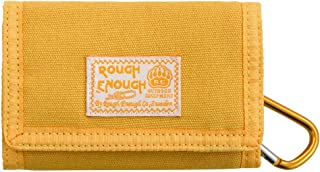 Rough Enough Small Minimalist Mens Front Pocket Card Wallet Holder Coin Purse Bag Organizer for Boys Girls Teen Adults Case Pouch Portable Change with Zipper Pocket Canvas Mustard Yellow