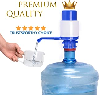 Water Bottles Pump Blue Manual Hand Pressure Drinking Fountain Pressure Pump Water Press Pump with an Extra Short Tube and Cap Fits Most 2-6 Gallon Water Coolers …