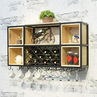 Ybzx Casiers à vin Support Mural Armoire en métal Organisateur Rack étagères flottantes en Bois Organisateur de Bouteille ...