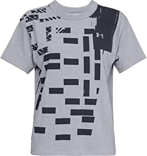 Under Armour Graphic Patchwork Girlfriend Crew Training Top For Women, Size XS (Charcoal & Grey)