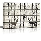 wall26 - Deer in Birch Forest Wood Cut Print Artwork - Rustic Canvas Wall Art Home Decor - 12x18 inches