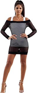 CHOCOLATE PICKLE New Womens Bardot Off Shoulder See Through Fishnet Tunic Bodycon Mini Dress S-L