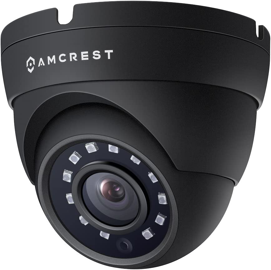 Amcrest Full HD 1080P 1920TVL Dome Outdoor Security Camera (Quadbrid 4-in1 HD-CVI/TVI/AHD/Analog), 2MP 1920x1080, 98ft Night Vision, Metal Housing, 3.6mm Lens 90° Viewing Angle, Black (AMC1080DM36-B)
