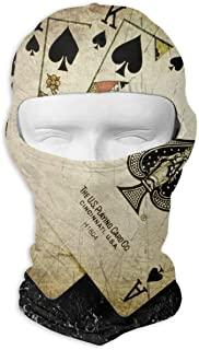UTKYH Ace of Spades Cards Paint Poker Outdoor Ski Face Mask Motorcycle Bike Breathable Full Face Mask Men and Women Balaclava Hood Hat