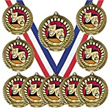 10 Pack of Drama Actor Actress Gold Medals Trophy Award with Neck Ribbons MY315