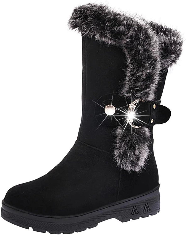 Fheaven Women Winter Warm Mid Calf Slip-On Snow Ankle Boots Fur Tassel Buckle Strap shoes (7.5, Black)