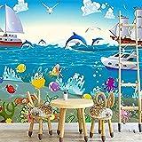 Mural 3D Etiqueta de la pared Mundo submarino Océano Habitación temática Mural personalizado Acuario Pared Pintado Papel tapiz 3D Decoración dormitorio Fotomural sala sofá pared mural-300cm×210cm