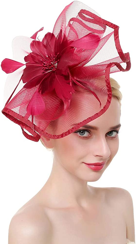 Belyee Feather Fascinator Hats for Women Cocktail Tea Party Headwear Hair Clips