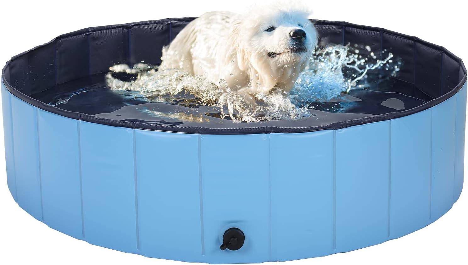 HAPPY HACHI Piscina para Perros Pequeños Plegable 80x20 cm Bañera para Gato Mascotas Resistente Duradero Refrescarse Nadando en Verano