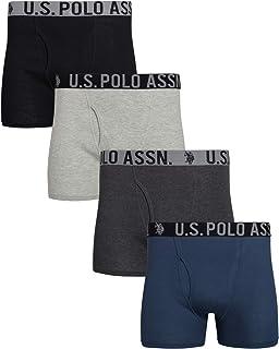 Men's Cotton Boxer Briefs Underwear with Functional Fly...