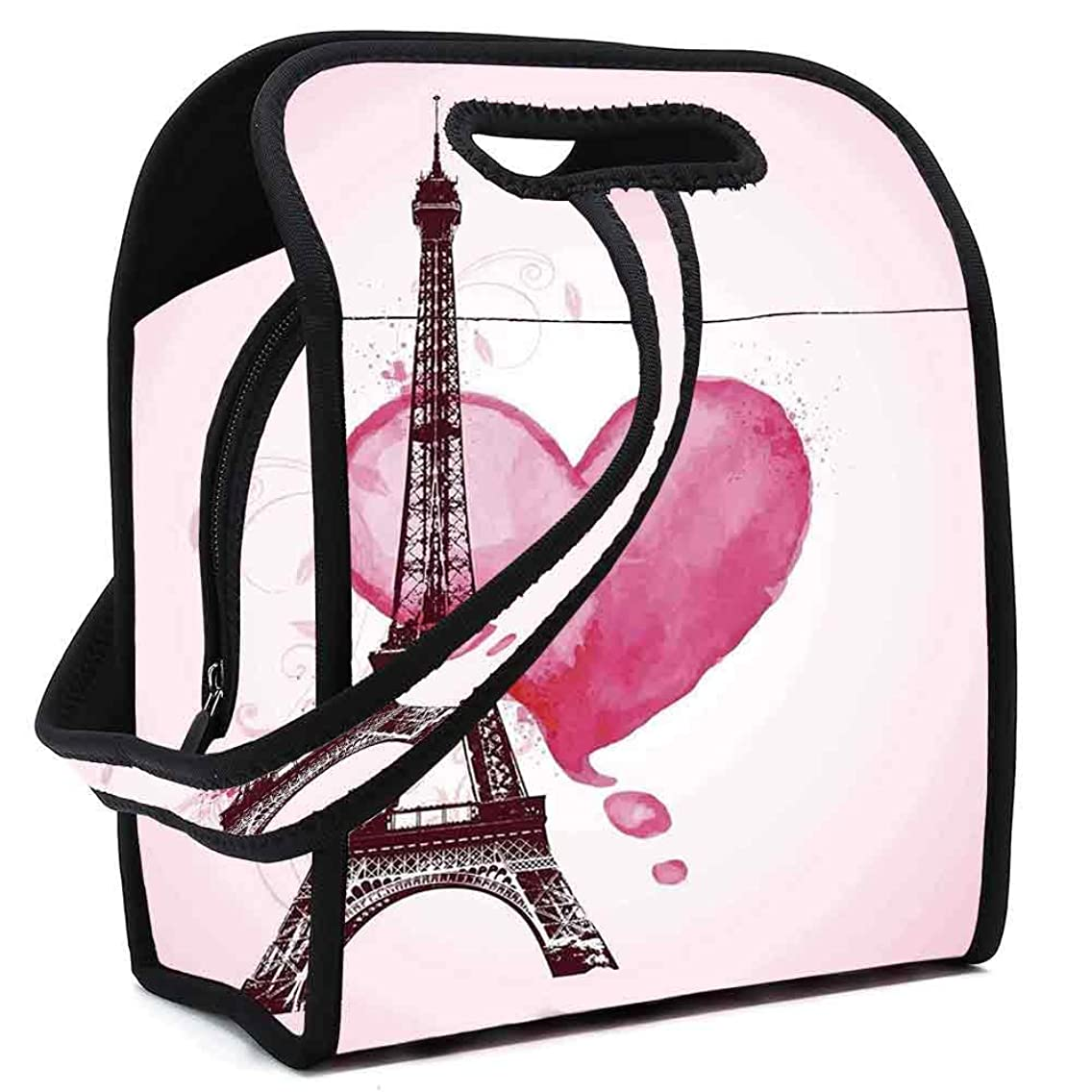 Eiffel Tower Decor Stylish Neoprene Lunch Bag,Eiffel Romantic Valentine Love Watercolor Themed Heart Leaf Silhouette Print for Women Girls Kids,Square(8.5''L x 5.5''W x 11''H)