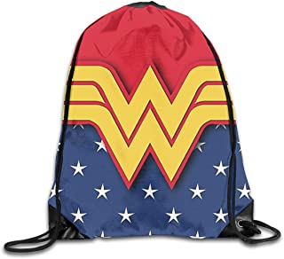 Wonder Woman Mochila con cordón Bolsos de Hombro Deporte Plegable Ajustable Cordón portátil de Viaje Mochila Duradera Niños Niñas Mochilas Escolares Mochilas Escolares Bolsa de Almacenamiento
