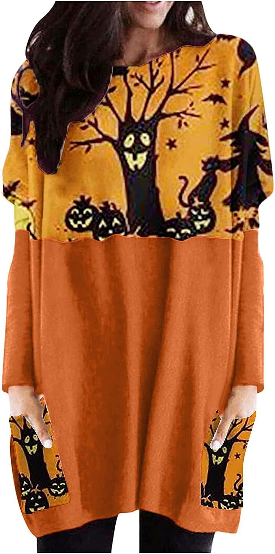 Womens Funny Graphic Halloween Pumpkin Sweatshirt Crewneck Long Sleeve Casual Pocket Long Tunic Tops Blouse Pullover