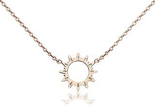 18k Gold Plated Titanium Steel Cute Sun Flower Short Necklace Rose Gold Color Delicate Adjustable Choker