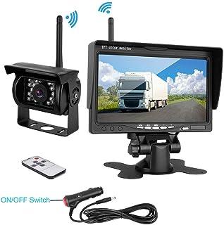 podofo Caméra de Recul sans Fil 18 LEDs Etanche Vision Nocturne Infrarouge avec 7 Pouces..