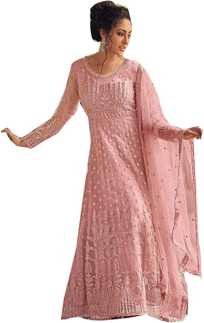 pink Indian wedding Net Muslim Ready to wear Heavy Anarkali salwar kameez Eid Bridal Woman Dress 5271