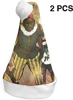 Sinterklaas and Zwarte Piet Vintage 2 Pack Pcs Xmas Santa Cap Hat Party for Vacation Pack Top Beanie Set Fancy Creative Women Mens Boy Girl