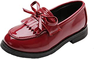 WUIWUIYU Girls Patent Leather Slip-On Penny Loafers Flats Bow Tassel Oxfords Moccasins Dress Shoes