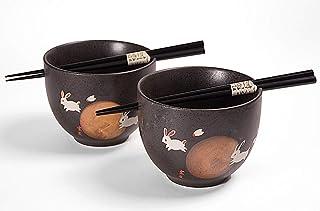 "Happy Sales HSTBS-2RBMN, Perfect 2 pc Japanese Rice Noodle Ramen Bowls 5""D Multi Purpose Tayo Bowls with Chopsticks, Rabbi..."