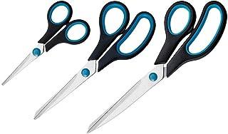 Westcott N-90027 00 Set de ciseaux Easy Grip - 3 unités 13 / 21 / 25 cm - bleu et noir