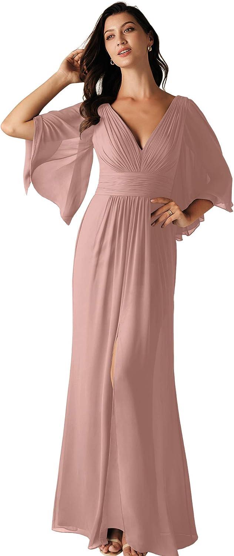 ALICEPUB Flutter Sleeve Bridesmaid Dresses for Women Wedding Chiffon Long Party Maxi Dress