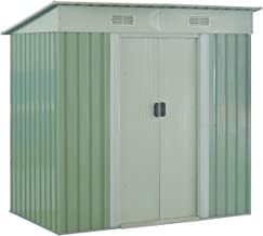 Goplus Garden Storage Shed Galvanized Steel Outdoor Heavy Duty Tool House w/Sliding Door, 4 x 6.2 Ft (Green)