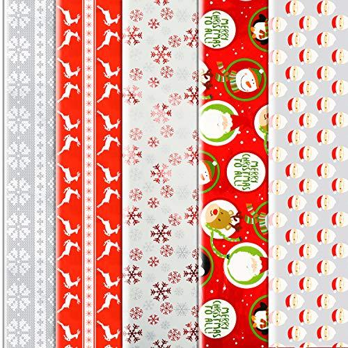 Konsait 10 Sheets Folded Large Christmas Wrapping Paper Traditional Gift Wrap 5076cm Xmas Festive Designs Bulk - Kids Snowman, Santa, Christmas Tree, Reindeer Xmas Birthday Decorations