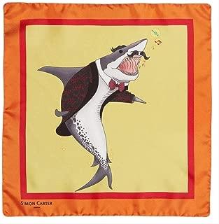 Simon Carter Mens Under the Sea Shark Pocket Square - Orange
