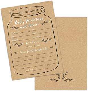50 Mason Jar Baby Shower Prediction and Advice Cards, Baby Shower Games, Baby Shower Decorations, Baby Shower Favors, Supplies, Gender Neutral Baby Shower Advice Cards for Boys and Girls