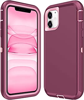 ATESSON Case for iPhone 11 Case Heavy Duty Shockproof Full-Body Protective Scratch Resistant Hard Shell Bumper Cover for Women Men Phone Cases for iPhone 11 6.1 Inch 2019 (Wine Red)