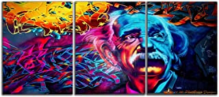 Large Size 3 Panels Albert Einstein Painting and Poster HD Print Motivational Inspirational Science Picture Canvas Wall Art Graffiti Posters Wooden Frame for Living Room Bedroom Decor(48''W x 24''H)