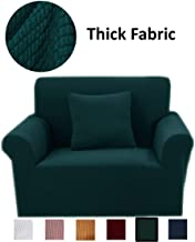 Agstar Thickened Knit Armchair Protector Covers, Stretch Asmchair Covers for Living Room, Armchair Slipcovers for Chairs,Durable Cover for Armchair, Stylish Living Room Arm Chair Covers, Dark Green