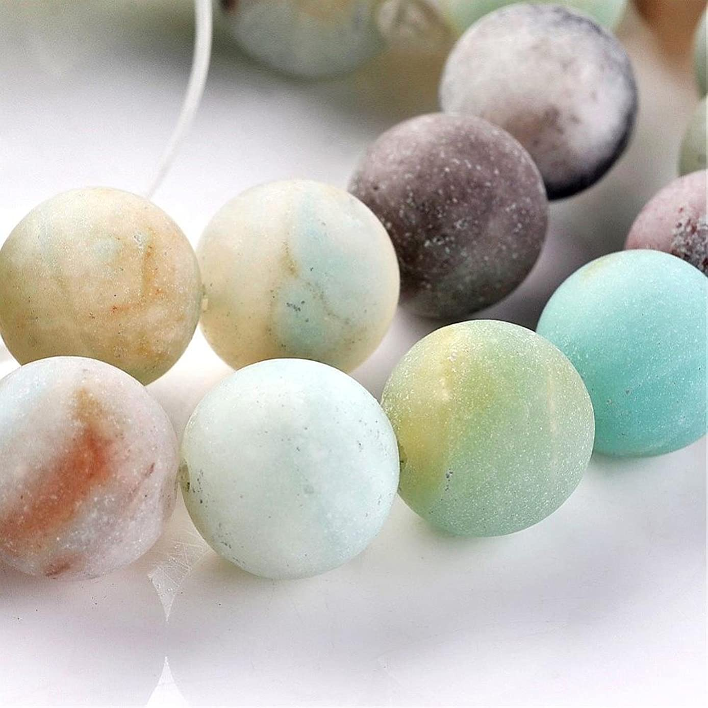 Frosted Natural Amazonite Gemstone Round Bead Strands 10mm frosted matte beads for DIY jewelry making BEEZZY BEEDZ
