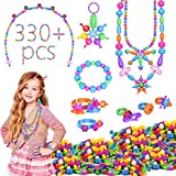 JAKPAK Pop Beads for Girls Bracelet Jewelry Making Kit Arts and Crafts Creativity for Kids Fashion Games Non-Toxic Material Made DIY Wear Toys Birthday Present Friendship Maker Craft Kit 330 Pcs